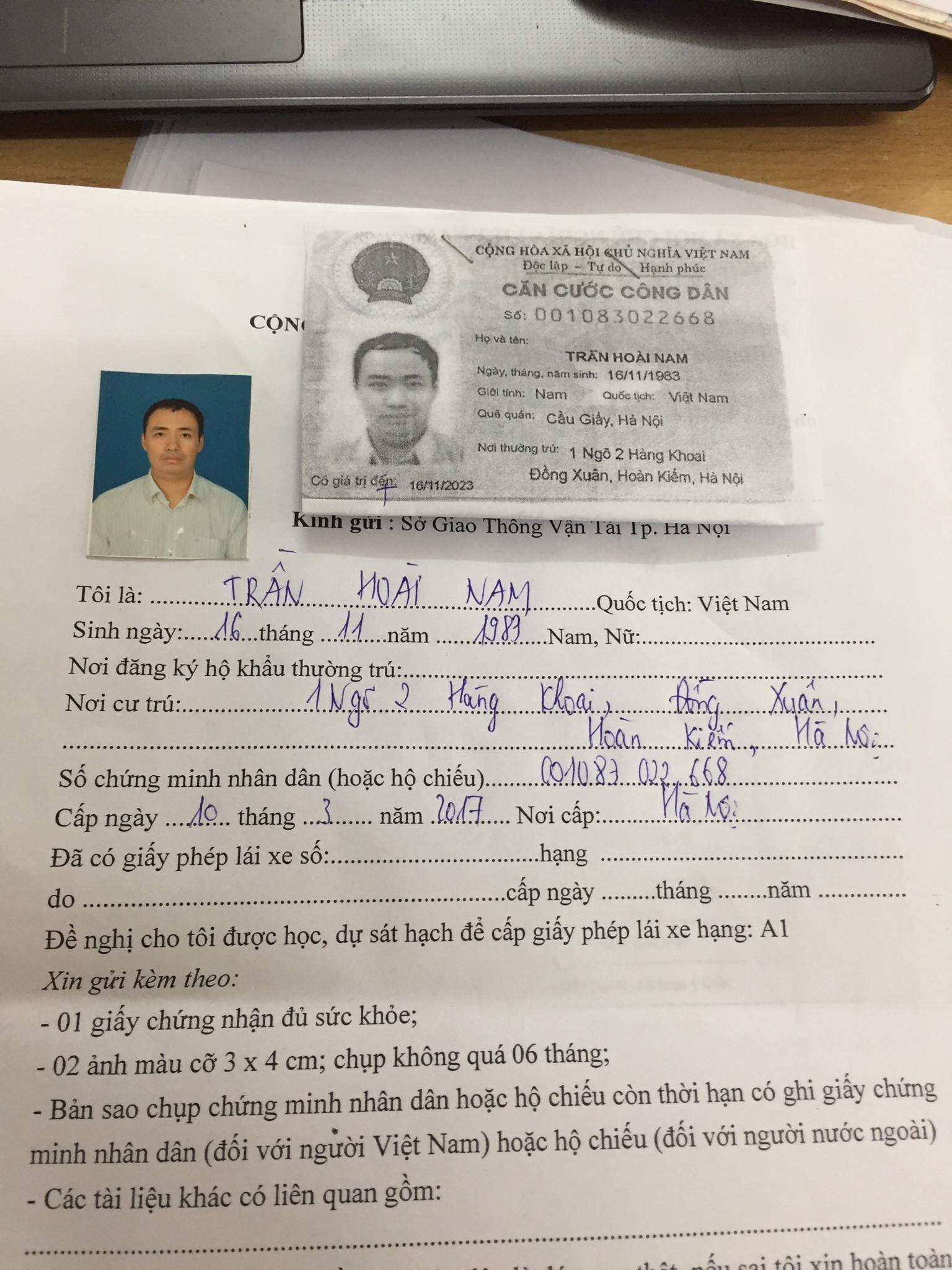 Mua hồ sơ thi bằng lái xe máy